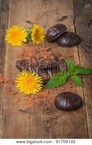 Chocolate With Mint Leaf