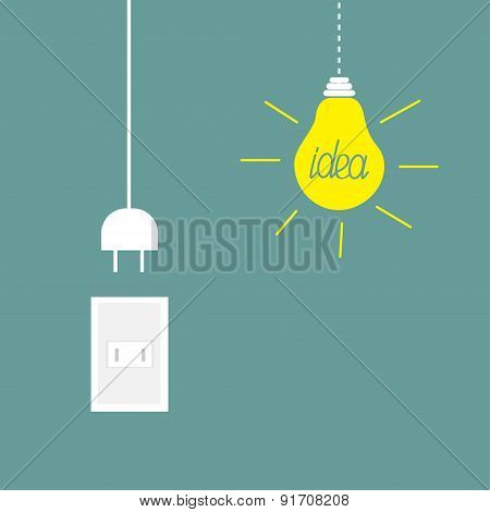 Hanging Yellow Light Bulb, Rosette, Cord Plug. Idea Concept. Flat Design