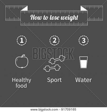 Three Step Weight Loss Infographic. Healthy Food, Sport Fitness, Drink Water Icon. Measuring Tape. O