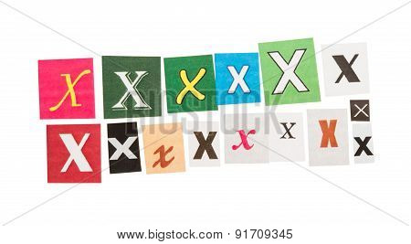 Letters X from newspapers