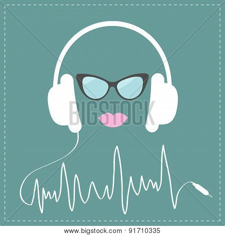 White Headphones With Digital Track Line Shape Cord. Sunglasses And Pink Lips Love Music Card. Flat