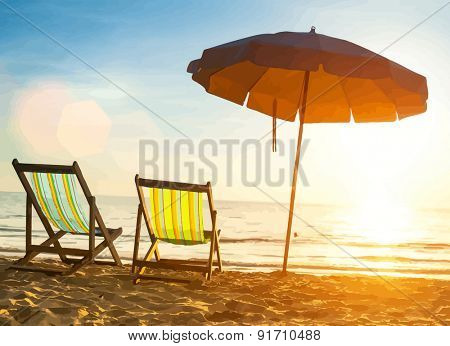 Beach loungers on deserted coast sea at sunrise. Vector illustration.
