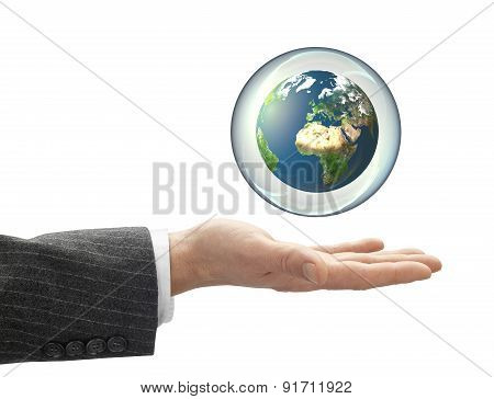 Business Hand Holding Globe In Bubble