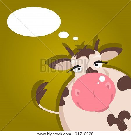 Cartoon Cow. Vector Illustration