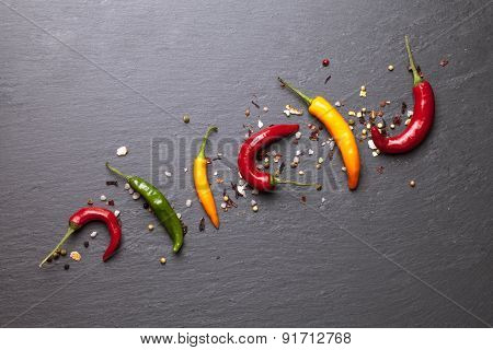 colorful chili peppers with spice