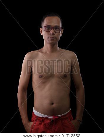 Portrait Half Bodyf With No Shirt Thin And Slim Of Forty Five Years Old Asian Man Against Blac Backg