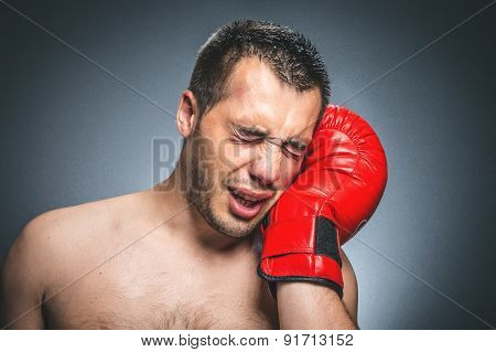 Beaten Boxer Crying