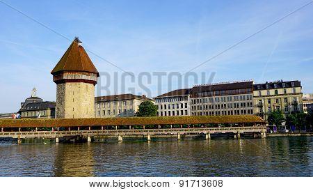 Famous Wooden Chapel Bridge In Lucerne