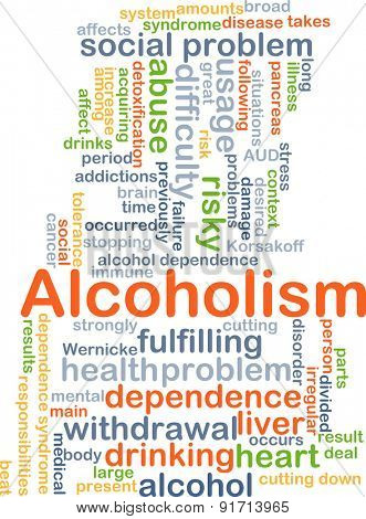 Background concept wordcloud illustration of alcoholism