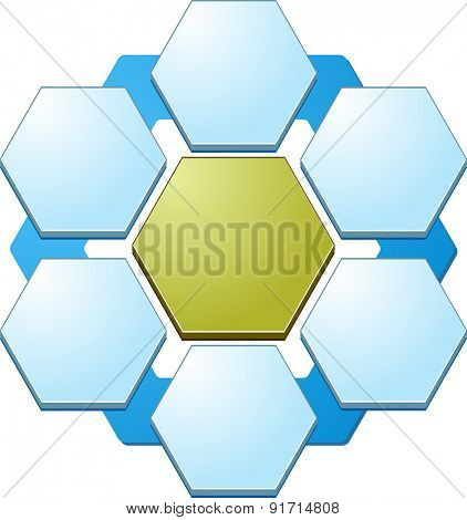 blank business strategy concept relationship diagram illustration hexagon shapes six 6