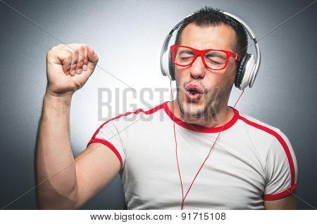 Guy Enjoying In Music