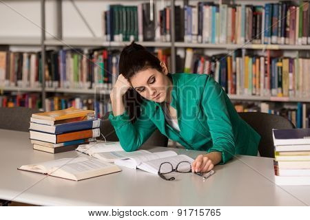 Female College Student Stressed About Her Homework