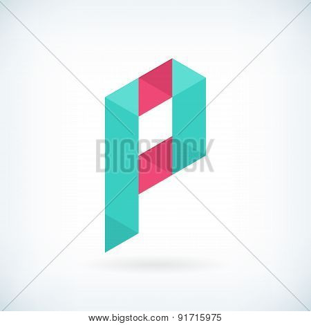 Modern Letter P Icon Flat Design Element Template