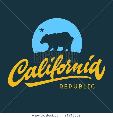 Vintage retro california republic t-shirt design