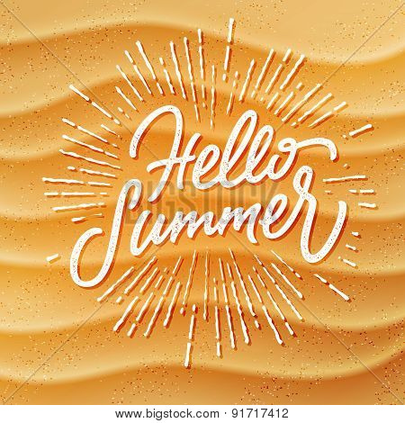 Sand texture and handmade lettering Hello Summer