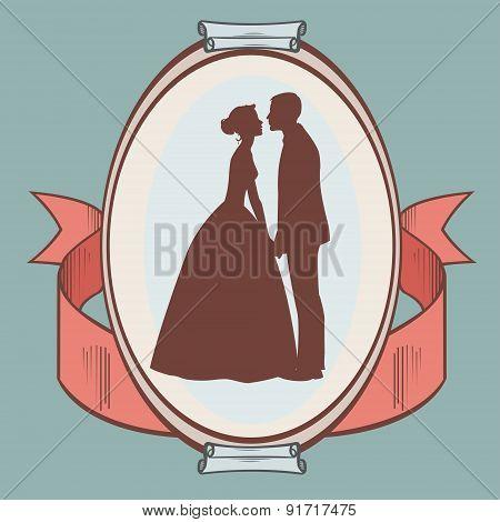 silhouette of wedding couple