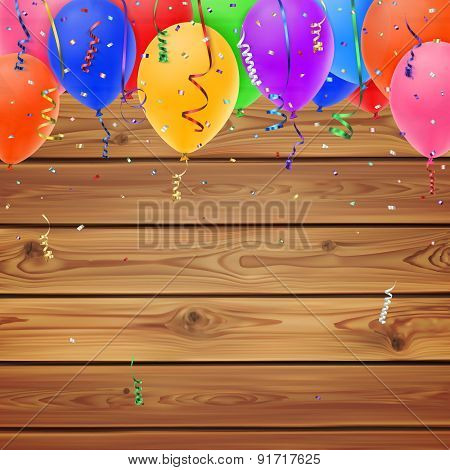 Celebration background, balloons on realistic wooden boards.