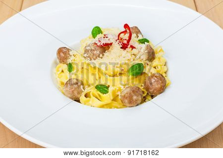 Traditional Italian Pasta With Meatballs