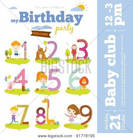 Birthday anniversary numbers with cute animals and kids