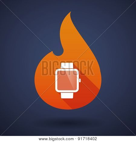 Flame Icon With A Smart Watch