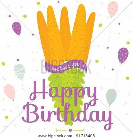 Unusual vector happy birthday card with carrot bouquet in a vint