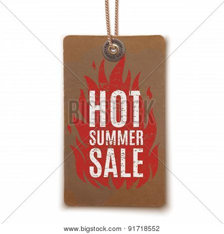 Hot summer sale. Realistic, vintage label.