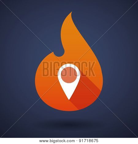 Flame Icon With A Map Mark