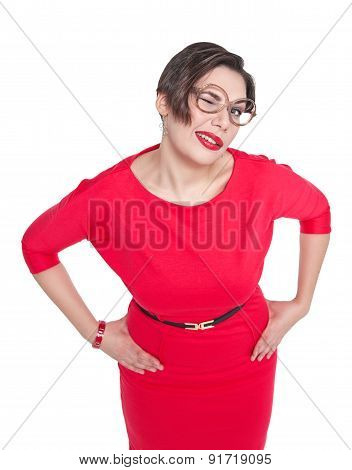 Funny Plus Size Woman In Glasses Winking Isolated