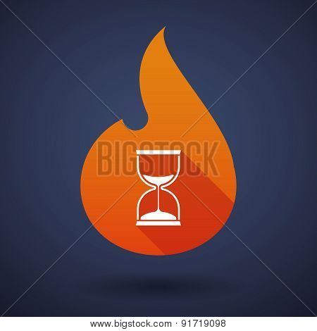 Flame Icon With A Sand Clock