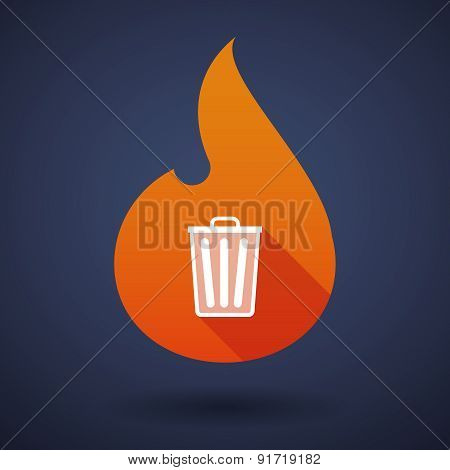 Flame Icon With A Trash Can