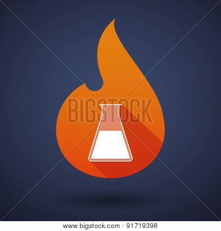 Flame Icon With A Chemical Test Tube