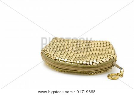 Little Feminine Golden Pouch On White Background