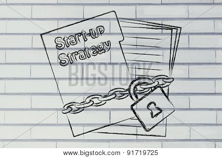 Secret Start-up Strategy: Illustration With Chained Folder And Pages