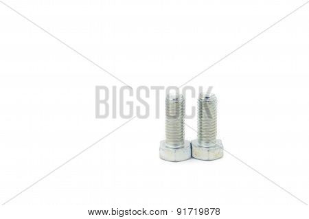 Two Metal Bolts On White Background