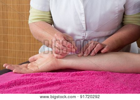 Doctor Hands Acupuncture Needle Pricking On Man Patient Closeup
