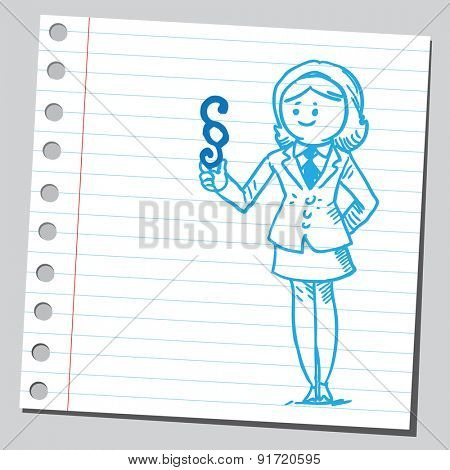Businesswoman holding paragraph sign