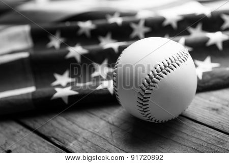 Baseball With American Flag In The Background, Black And White Concept