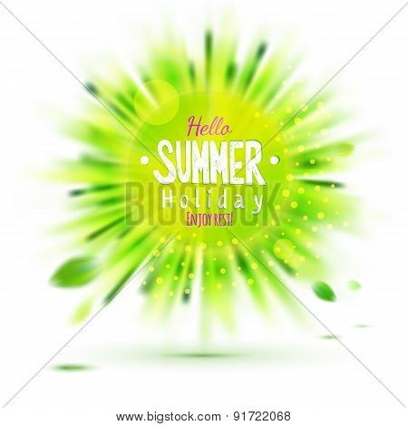 Enjoy Summer Holidays Blurred Green Grass Circle Label