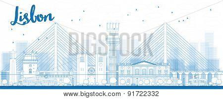 Outline Lisbon city skyline with blue buildings. Vector illustration