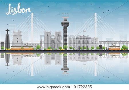 Lisbon city skyline with grey buildings and blue sky. Vector illustration