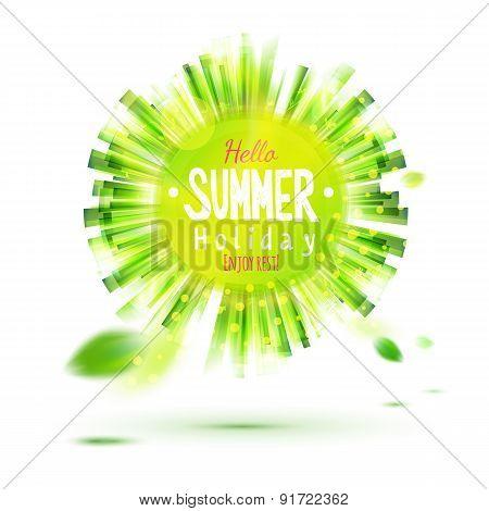 Enjoy Summer Holidays Green Circle Label