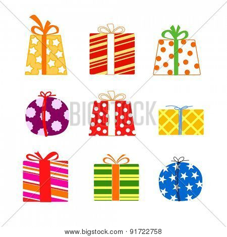 Colorful gift boxes. Raster version