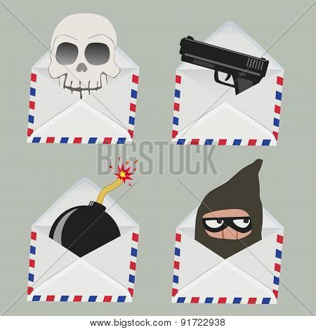 Set Of White Envelope With Skull,gun,bomb And Thief Inside