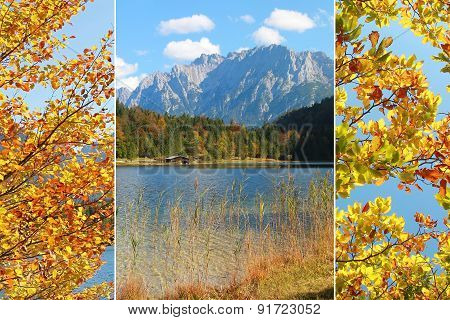 Collage - Alpine Lake And Mountains In Autumn