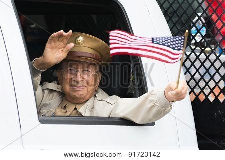 Us Veteran Holding Americam Flag