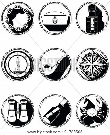 Nautical Elements IV Icons In Knotted Circle In Black And White