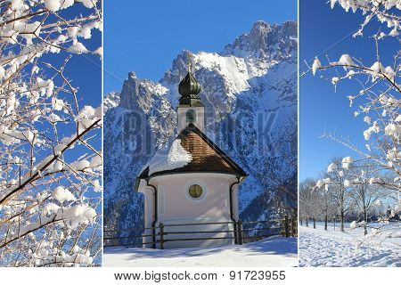 Collage - Chapel In Winter, Snowy Branches