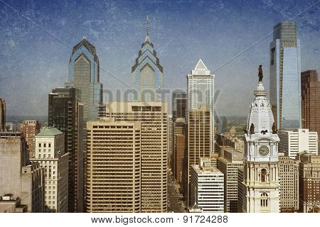 Vintage view of the Philadelphia skyline with City Hall in the front