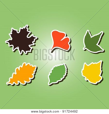 set of color icons with different leaves