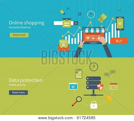 Set of flat design vector illustration concepts for data protection, internet security and online sh